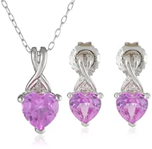 Sterling Silver Created Pink Sapphire with Diamond-Accent Heart Earring and Pendant Boxed Gift Set, G-H Color, I3 Clarity)