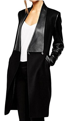 Long Black Leather Coat - 3