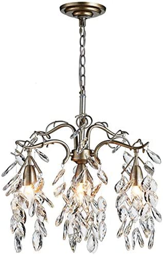 Saint Mossi Crystal Raindrop Chandelier Lighting Curve Crystal Cascading Chanelider 4 Lights, Vintage Aged Silver Painted Arms, Width 18 inch