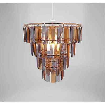 Chandelier chic ceiling light pendant shade crystal droplet fitting chandelier chic ceiling light pendant shade crystal droplet fitting easy fit copper grey tiered aloadofball Choice Image