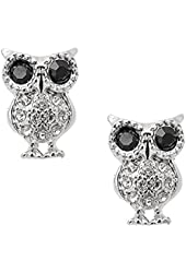 Spinningdaisy Crystal Bold and Curious Black Eyes Owl Earrings
