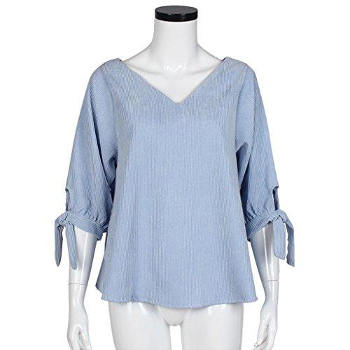 Transer ®Chemisier Femme,Femmes Sexy manches longues en vrac V-Neck T-Shirt Blouse Casual Tops Fashion Blouse Bleu(S-XL)
