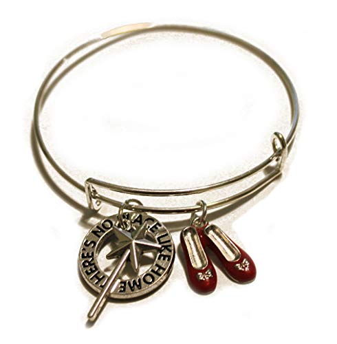 The Wizard of Oz and Alice in Wonderland Bracelet Bangle There is No Place Like Home Bracelet-Wizard of Oz There's No Place Like Home- Dorothy Ruby Red Slippers Silver Round Charm Pendant]()