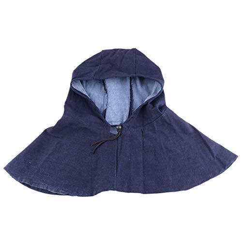 (Denim Fabric Welder Helmet Mask Grinding Overhead Protection Welding Dustproof Operation Hood Dark Blue)