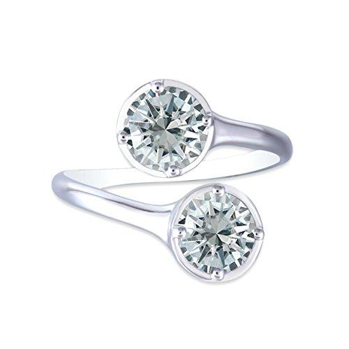 (DOVEGGS 10K White Gold 2CTW 6.5mm Round Brilliant Moissanite Engagement Ring Bezel Setting for Women)