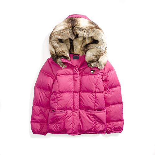 629fc7bc Galleon - Tommy Hilfiger Adaptive Girls' Little Puffer Jacket With Magnetic  Buttons And Faux Fur Hood, Pink Popsicle, Small
