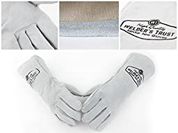 Heavy Duty Thick Welding Gloves - Small Size Hands with Long Sleeves - For Stick TIG and MIG Welding - Premium Leather with Kevlar Lining - Dog and Cat Hand Scratch Animal Protection