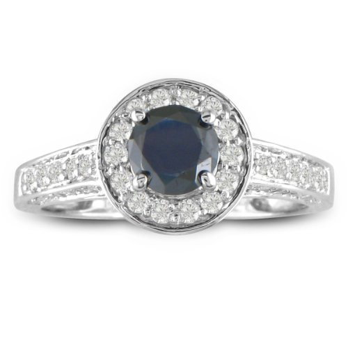 1ct Micropave Black Diamond Engagement Ring in 14k White Gold, Available Ring Sizes 4-9, Ring Size 8