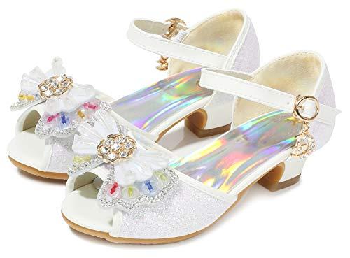 (Osinnme Girls Heeled Sandals for Wedding Princess Size 1 M Sequin Wedge Crystal High Heel Sandals 12T Girls Rhinestone Cute Dress Shoes Platform (02White 33) )