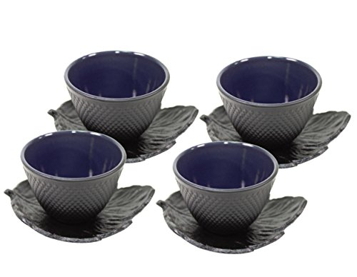 Black Polka Dot Hobnail Japanese Cast Iron Tea Cup Sets Teacup with Tea Cup Saucers ~ We Pay Your Sales Tax (4 cups + 4 saucers)