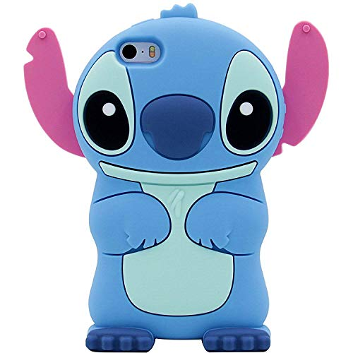 Blue Stitch Case Compatible for iPhone 4,FunTeens 3D Cartoon Animal Cute Soft Silicone Rubber Protective Character Cover,Kawaii Animated Funny Cool Skin Shell for Kids Child Teens Girls for iPhone4