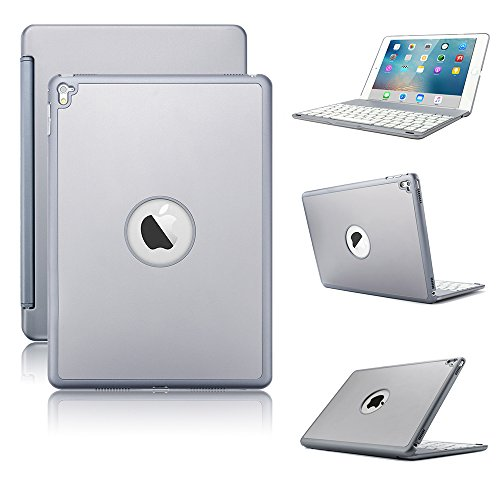 KVAGO iPad Keyboard Case for iPad Pro 9.7, Stylish 7 Colors Backlit Wireless Bluetooth Keyboard Hard Shell Case Protective Cover for Apple iPad Pro 9.7 inch (NOT for 2017 New iPad 9.7) -Grey