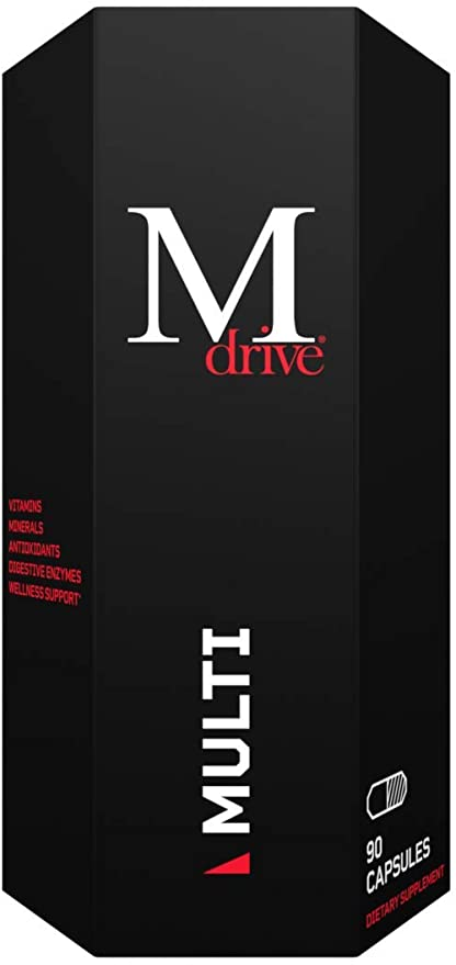 Mdrive Multi for Men, Daily Multivitamin - Immune Health Support from Zinc, Selenium, Manganese & Vitamin D, Enzymes for Digestive Support, CoQ10 and Plant Extracts for Energy and Vitamin K2, 90ct