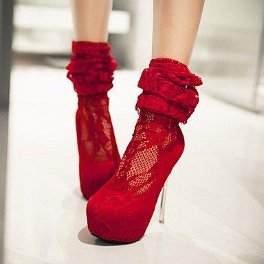 LFNLYX Mujer-Tacón Stiletto-Plataforma / Botas a la Moda-Botas-Boda / Vestido / Fiesta y Noche-Encaje / Semicuero-Negro / Rojo Black