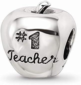 """Charm-Anhänger mit Aufschrift""""Teacher On Apple"""", Sterlingsilber"""