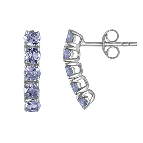 5 Stone Tanzanite Earrings .925 Sterling Silver (Dangling Tanzanite Earrings)