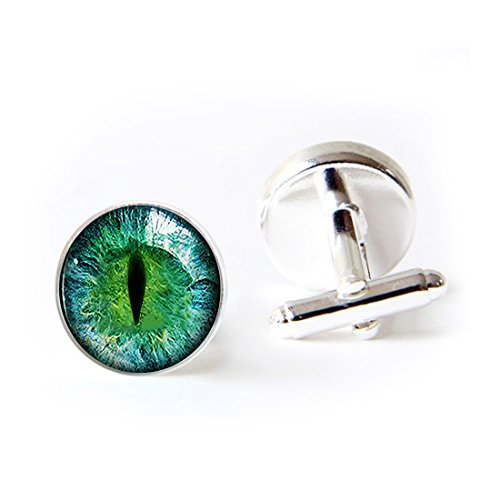Mens Classic Initial Cufflinks Green Justice Dragon Eye Shirt Cufflinks 2PCS For Formal Business Wedding Dragon Green Cufflinks