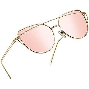 Joopin Fashion Women Metal Frame Cat Eye Sunglasses Classic Brand Designer Mirror Flat Panel Lens UV400 Coating Sunglasses (Gold Frame Pink Lens)