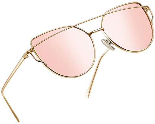 (Joopin Polarized Cat Eye Sunglasses for Women Metal Frame Sun Glasses Mirrored Lens UV400 E073P (Pink Simple package))