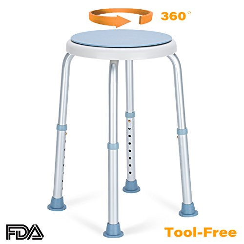 - OasisSpace 360 Degree Rotating Shower Chair, Tool Free Adjustable Shower Stool Tub Chair and Bathtub Seat Bench with Anti-Slip Rubber Tips for Safety and Stability