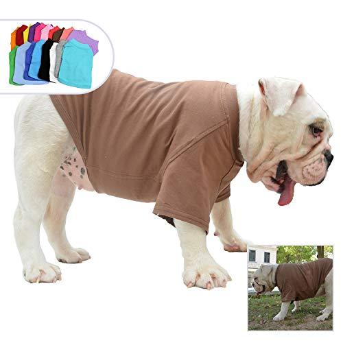Lovelonglong Bulldog Clothes Dog Clothing Blank T-Shirt Tee Shirts for French Bulldog English Bulldog American Pit Bull Pugs 100% Cotton Skin Care Coffee B-L