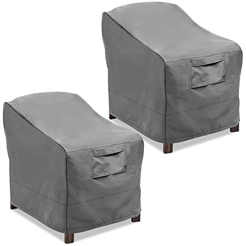 Vailge Patio Chair Covers, Lounge Deep Seat Cover, Heavy Duty and Waterproof Outdoor Lawn Patio Furniture Covers (2 Pack - Large, Grey)