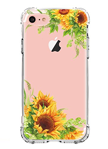 LUOLNH iPhone 8 Case,iPhone 7 Case with Flowers,Slim Shockproof Clear Floral Pattern Soft Flexible TPU Back Cover Case for iPhone 7/8 -Sunflower