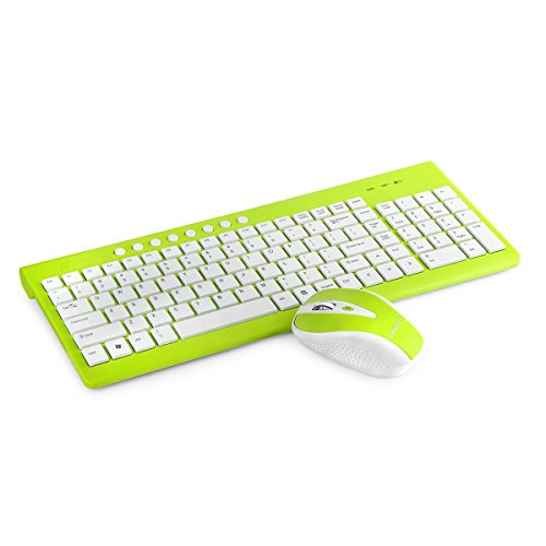 Wireless Keyboard and Mouse, VEGCOO E2 Quiet Keyboard and Mouse Combo 113 keys (Battery Included) With Caps/Number Lock/ Low Battery Indicator Lights … (New Green) (Keyboard Key Lock)