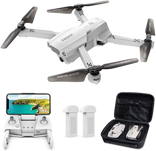 Tomzon D65 GPS Drone con camara 4K HD WiFi, FPV RC Quadcopter plegable con regreso automatico a casa, Sigueme, Tap Fly, Control de gestos, Modo MV, 2 baterias de 40 minutos y estuche de almacenamiento