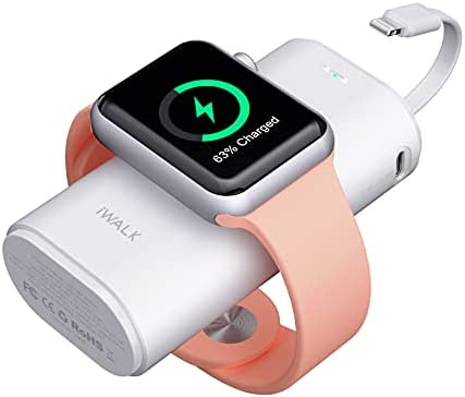 iWALK Portable Apple Watch Charger, 9000mAh Power Bank with Built in Cable, Apple Watch and Phone Charger, Compatible with Apple Watch Series 6/Se/5/4/3/2, iPhone 12/12 mini/11/Xr/Xs/X/7/6s, White