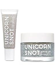 Unicorn Snot Holographic Glitter Lip Gloss + Gel, Combo Pack, Vegan & Cruelty-Free (Silver)