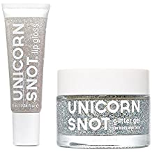 Unicorn Snot Holographic Glitter Lip Gloss + Gel, Combo Pack, Vegan & Cruelty-Free (Silver)