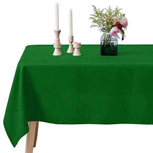 VEEYOO Rectangle Tablecloth - 60 x 102 Inch Polyester Table Cloth for 6 Foot Table - Soft Washable Oblong Green Table Cloths for Wedding, Parties, Restaurant, Dinner, Buffet Table and More