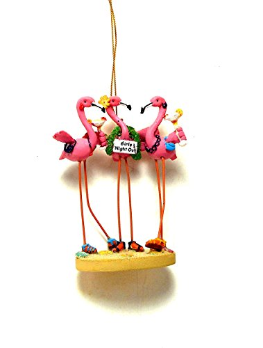 Cape Shore Girls Night Out Girlfriend Pink Flamingos Beach Ornament]()