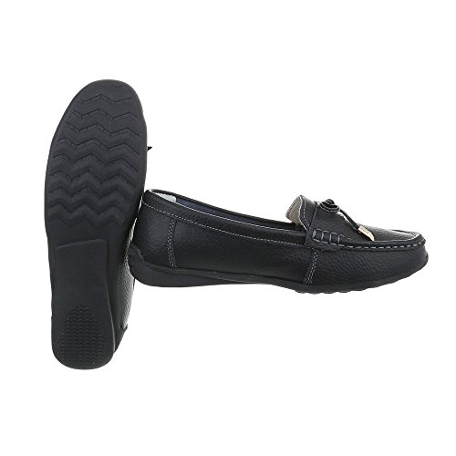 Ital-Design Women's Loafer Flats Flat Moccasins at Black 9008 CEyBoaM