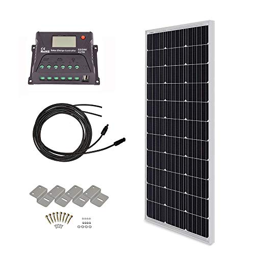 (HQST 100 Watt 12 Volt Monocrystalline Solar Panel Kit with 10A PWM LCD Display Charge Controller)