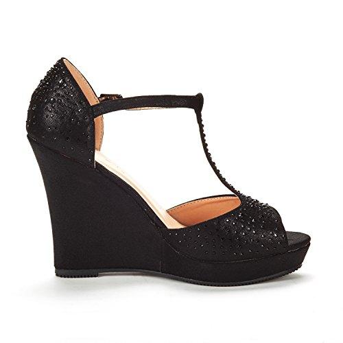 Dröm Par Kvinna Ange Mode Klänning Kilar Plattform Klack Peep Toe Bröllop Pumpar Sandaler 01-svart Mocka