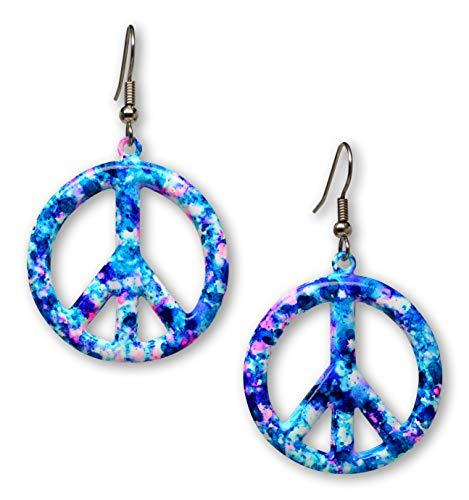 Purple Blue Hippie Tie Dye Peace Sign Enamel on Pewter Dangle Earrings