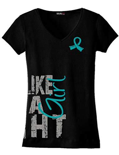 (Fight Like a Girl Side Wrap Ovarian, Peritoneal, Gynecologic Cancer Awareness Ladies V-Neck T-Shirt - Black w/Teal [3X])