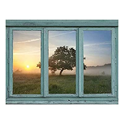 Cool Mist in a Spring Meadow During The Early Morning Hours with a Lone Tree - Wall Mural, Removable Sticker, Home Decor - 36x48 inches