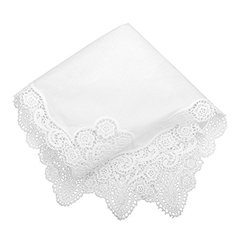 Milesky Bridal Wedding Crochet Lace Handkerchief premium 60S Cotton - Wedding Bridal Hanky