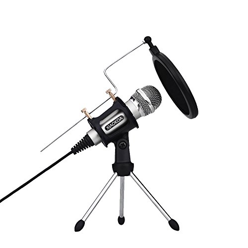Microphone for Computer and phone, 2018 Upgrade Professional Condenser Microphone Plug & Play for Recording, Gaming, Podcasting, Online Chatting by XIAOKOA (M3-silver)