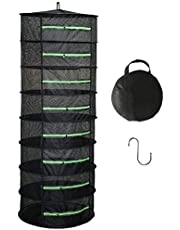 Langroup Herb Drying Rack Net Dryer 8 Layer 2ft Black Collapsible Mesh Hanging Drying Rack with Green Zippers Opening for Garden Outdoor Hanging and Drying Hydroponic Plants(Free Hook Included)