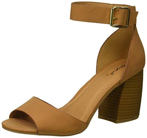 Qupid Women's Wood Heel Sandal Heeled, Camel Nubuck Polyurethane, 7 M US from Qupid