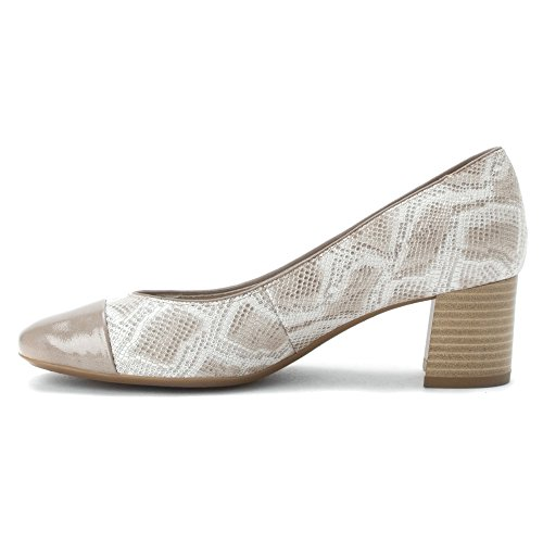 Ara Lian Dress Pump Taupe Snake Print / Cotton Patent