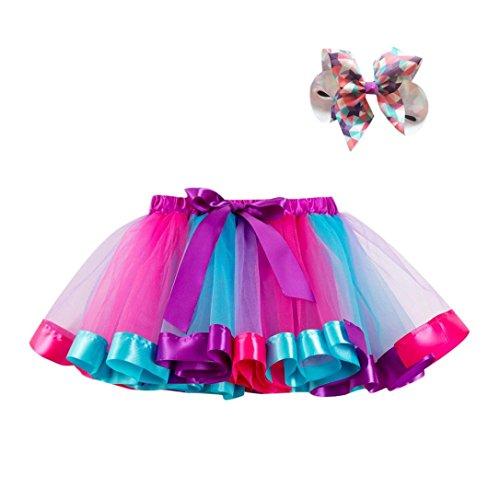 UK Women Girl Rainbow Tutu Skirt Multicolour Petticoat Kid Costume Ballet RO