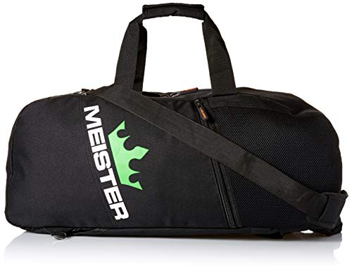 - Meister Vented Convertible Duffel/Backpack Gym Bag - Ideal Carry-On - Black/Electric Green