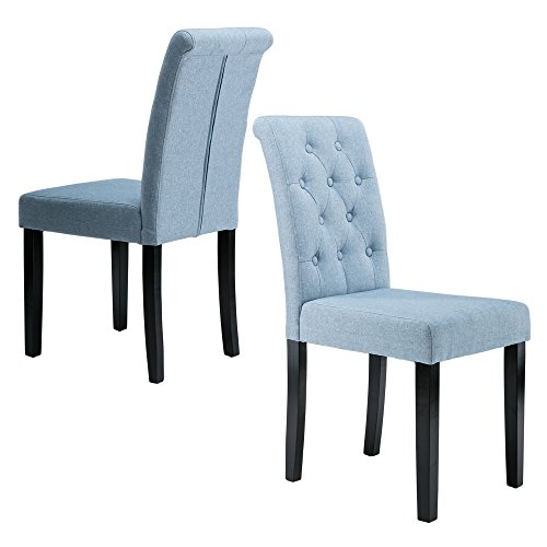LSSBOUGHT Button-tufted Upholstered Fabric Dining Chairs, Set of 2 (Blue) (Blue Upholstered Chair)