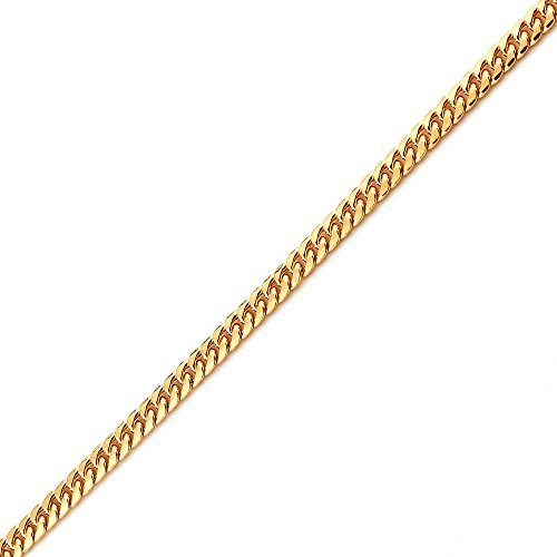 LoveBling 10K Yellow Gold 3.5mm 8'' Solid Miami Cuban Link Chain Bracelet with Lobster Lock by LOVEBLING (Image #1)