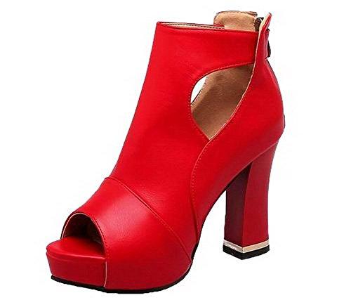 GMBLB014567 AgooLar Haut Femme Unie Ouverture à Zip Talon d'orteil Sandales Rouge Couleur rfr6qwv